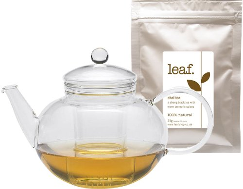 Miko glass teapot 1.2L with glass strainer by Leaf