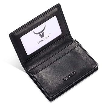 Leather Business Card Case Holder for Men & Women Italian Calfskin  Black