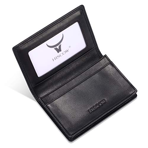 Leather Business Card Case Holder for Men & Women, Italian Calfskin (Black)