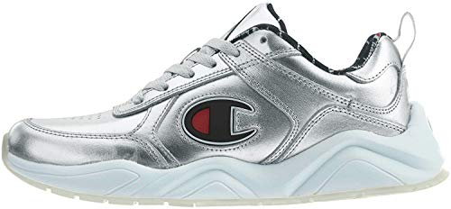 Champion Men's 93Eighteen Metallic Leather Silver Ankle-High Fashion Sneaker - 8.5M
