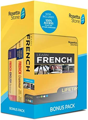 Rosetta Stone Learn French Bonus Pack Bundle Lifetime Online Access Grammar Guide Dictionary product image