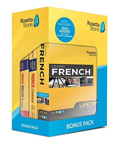 Rosetta Stone Learn French Bonus Pack Bundle| Lifetime Online Access + Grammar Guide + Dictionary Book Set| PC/Mac Keycard