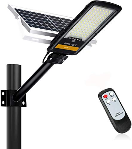 80W Farolas Solares Exterior LED, Luz Exterior con Panel Solar y Mando a Distancia, Impermeable IP67, 84LEDs, 6500K Luz Blanca fría, Luces Solares para Caminos, Jardines y Muros