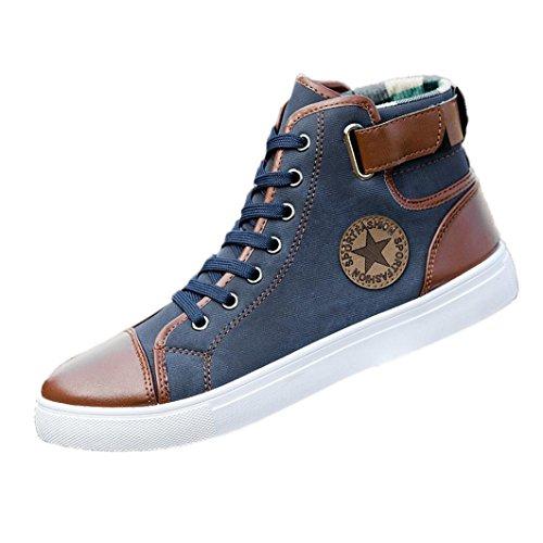 Zapatos Hombre,Hombres zapatos causales de encaje-hasta botines zapatos casuales altos zapatos de lona superior LMMVP (Azul, 43(EU))