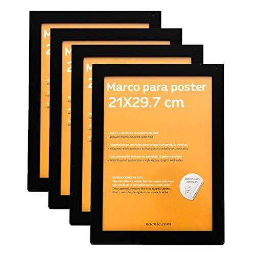 Nacnic Set de 4 Marcos Negros tamaño A4-21x29.7cm. Marco de Color Negro