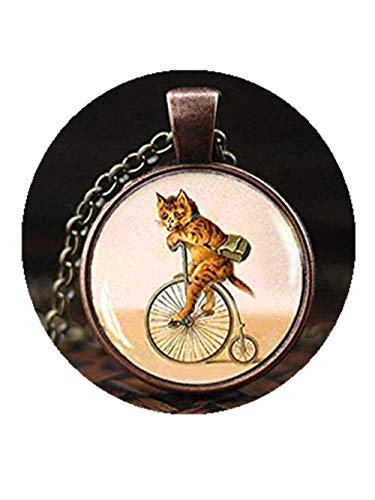 Katze auf Fahrrad Halskette Katze Hipster Fahrrad Anhänger Vintage Antik Fahrrad Katzenliebhaber Fahrrad Geschenk Retro Vintage Kätzchen Anhänger