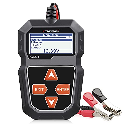 KONNWEI KW208 12V Batterietester, 100-2000 CCA Lasttester KfZ-Lichtmaschinen-Tester Digitaler Auto-Batterie-Analysator Lade-Anlasser-System-Tester für Auto LKW Schiff Motorrad SUV Boot
