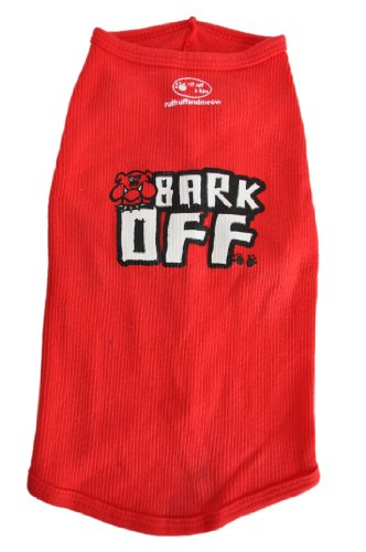 Ruff Ruff and Meow Dog Tank Top, Bark Off, Red, Extra-Large