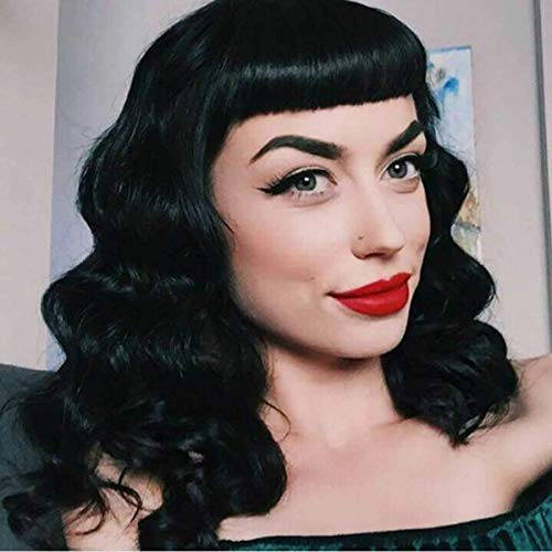 G&T Wig Rockabilly Vintage Wigs for Women, Short Black Wig with Bangs, Shoulder Length Heat Resistant Short Curly Wigs for Cosplay & Daily Use