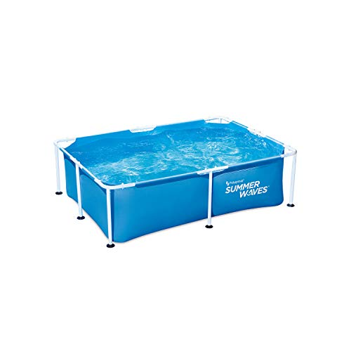Summer Waves P30705240 7 x 5 Foot 24 Inch Deep Rectangular Small Metal Frame Above Ground Family Backyard Swimming Pool, Blue -  Polygroup