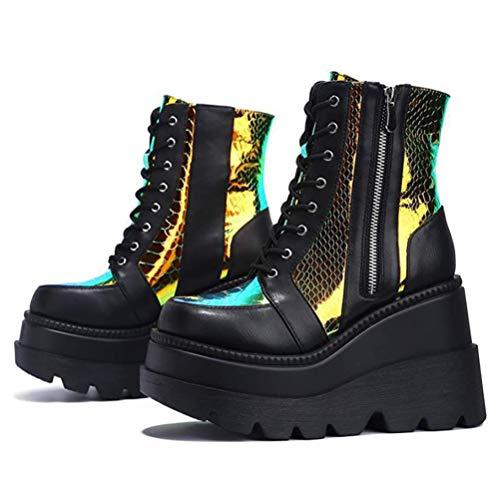 Bottines compensées pour femme bottes courtes plateforme talons hauts à lacets automne hiver élégant baskets décontractées