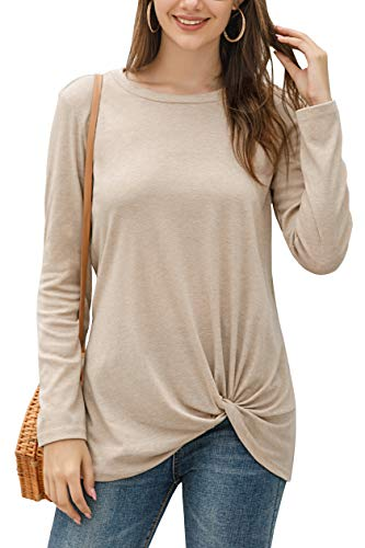 Yidarton Women's Comfy Casual Long Sleeve Side Twist Knotted Tops Blouse Tunic T Shirts(ap,s) Apricot