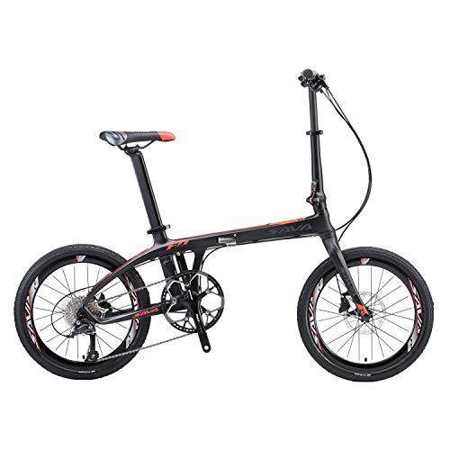 SAVADECK Z1 Bici Pieghevole 20' Bicicletta Pieghevole in Carbonio con Telaio in Fibra di Carbonio e Cambio Shimano 105 R7000 22 velocità (Nero Rosso)