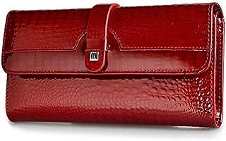 Women Long Wallet Genuine Leather Wallets Red Aligator Pattern Cowhide Purse Three Fold Large Capacity Clutch Wallet Luxury