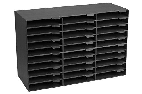 Adir File Sorter Literature Organizer - Mail Vinyl Craft Paper Storage Holder Corrugated Cardboard for Office, Classrooms, and Mailrooms Organization (30 Slots, Black)