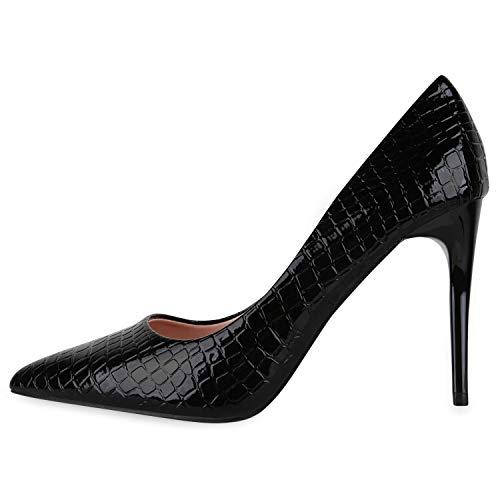 Giralin Damen Spitze Pumps Kroko-Optik Absatzschuhe Lack Party Schuhe Stiletto High Heels 179754 Schwarz Kroko 40