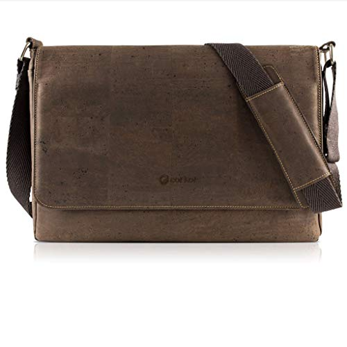 Corkor bandolera bolsa de mensajero para portatil para hombres - Corcho marrón