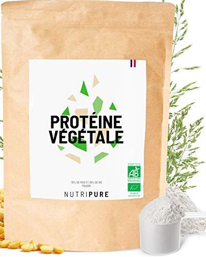 Protéines Vegan BIO • 80% de protéines, 18% BCAA • 1 KG • Protéines de Pois cassé et de Riz • Goût neutre • 6 Arômes naturels au choix • Sans Gluten • Excellente digestibilité • NUTRIPURE