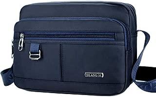 Men's Casual Shoulder Bag Oxford Cloth Waterproof Outdoor Travel Travel Messenger Bag (Color : Blue)