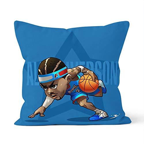 Funda de cojín con diseño de estrella de la NBA Allen Iverson Home Dormitorio cojín decorativo tamaño 40 x 40 cm
