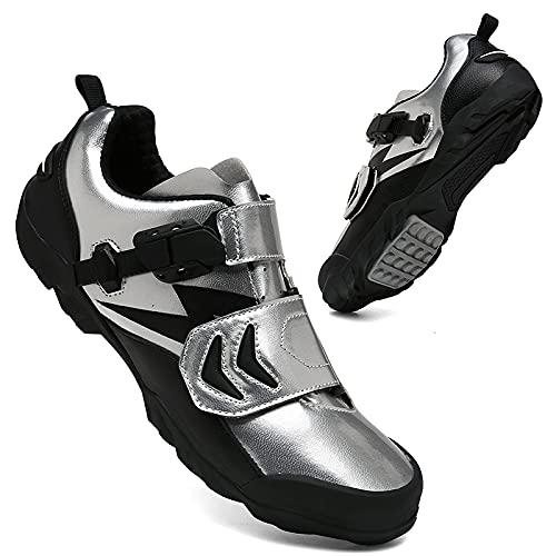 KUXUAN Zapatillas de ciclismo para hombre y mujer, antideslizantes, para ciclismo, correr, ciclismo, ciclismo, ciclismo, ciclismo, ciclismo, ejercicio, fitness, color plateado