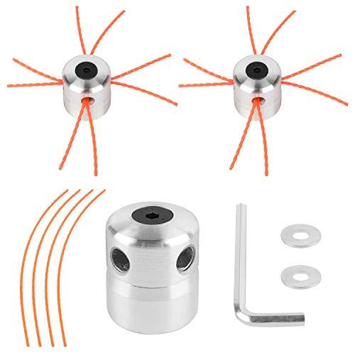 Viabrico 2X Tête de débroussailleuse universelle en aluminium tête de coupe-herbe fil nylon (2X Orange)