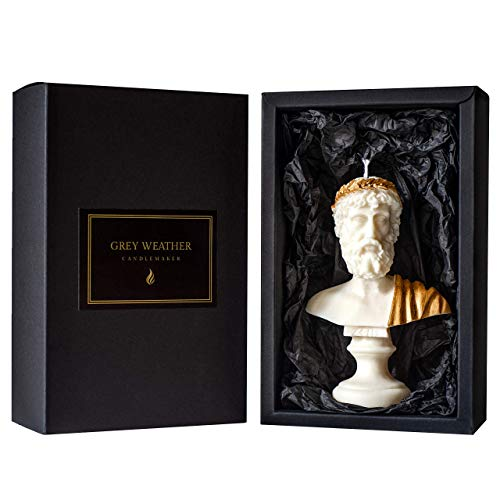 Scented Candle Lavender | 15cm Large Zeus Sculpture | Gold Luxurious Bust Pillar Candles Gift Home Decor Soy Wax Vegan Made in UK