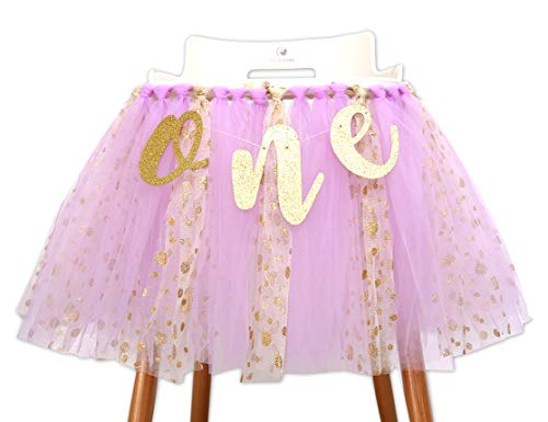 Purple Tutu Highchair Banner for 1st Birthday - Purple Tutu Skirt Photo Booth Props and Backdrop Cake Smash,Best One Birthday Party Supplies for Baby (Purple Tutu Highchair Banner)