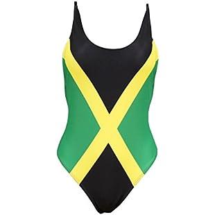 VOARYISA Women's One Piece Caribbean Flag Rasta Monokini Thong Swimsuit Swimwear Bathing Suit (Small, Jamaica)