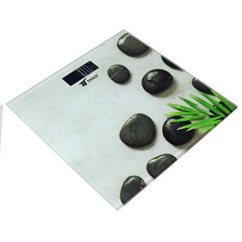 Thulos Báscula de Baño Digital Con plataforma de Cristal Templado, Pantalla LCD invertida, Capacidad máxima 180kg, Mide el peso en Kilos y libras. Lista para usar Modelo : TH-BD103