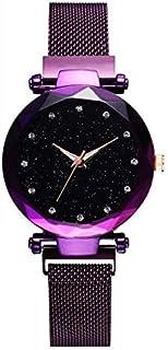 ALCENTIS – Reloj milanés para mujer – morado cielo estrellado – Pulsera magnética de acero inoxidable malla morado – 12 pe...