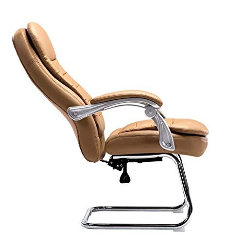 Bürostuhl Stuhl Bogen Computer Stuhl, Leder Boss Stuhl, Leder Bürostuhl, Liegestuhl Mit Rückenlehne, Wohnkomfort (Farbe: Pu Leder Liegend-Schwarz)