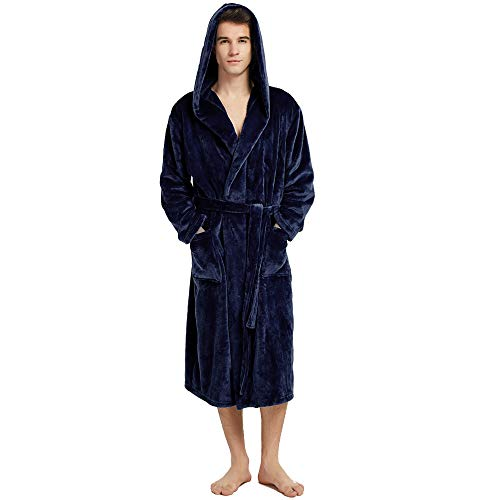 Fleece Robe for Mens with Hooded Terry Cloth Warm Plush Soft Bathrobe Navy Blue M/L