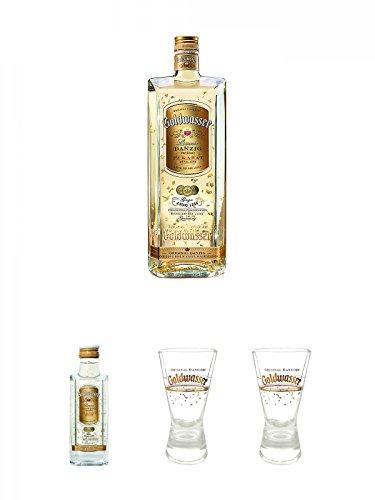 Danziger Goldwasser Likör 0,7 Liter + Danziger Goldwasser Likör 5 cl MINIATUR + Der Lachs Danziger Goldwasser Shotglas 2 cl 1 Stück + Der Lachs Danziger Goldwasser Shotglas 2 cl 1 Stück