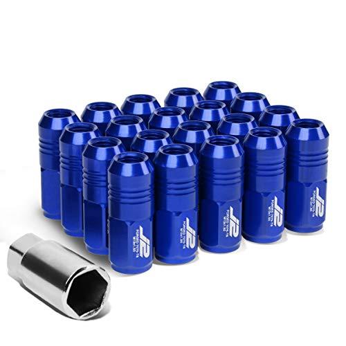 J2 Engineering LN-T7-007-15-BL Blue 7075 Aluminum M12X1.5 20Pcs L: 50mm Close End Lug Nut w/Socket Adapter