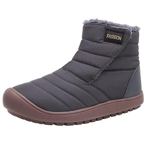 joyvio Damskie buty śniegowe Zimowe wodoodporne botki w górę Bawełna Ciepłe futrzane podszyte antypoślizgowe botki na platformie Outdoor (Color : Gray, Size : EU:42/US:10)