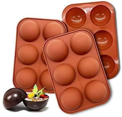 3 moldes de silicona para chocolate, pasteles, gelatina, pudín, jabón hecho a mano, forma redonda, forma de media esfera, antiadherente, sin BPA