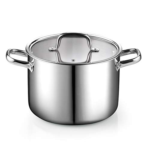 Cook N Home Tri-Ply Clad Stainless Steel Stockpot with Lid, 8 Quart, Silver