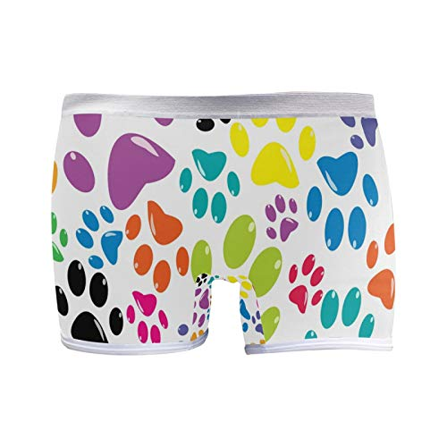 Coloreado Animal Paw Print Transpirable Suave Mujer Boxer Briefs Señoras Hipster Bragas Elástico S Mujer...