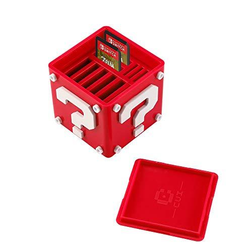 Spielkartenhalter für Nintendo Switch, Aolvo 12-in-1 Süße Spielkarten-Box, kompakte Aufbewahrungslösung, Organizer für bis zu 8 NS-Spielkarten und 4 Micro-SD-Karten, rot