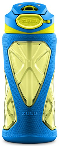 ZULU Torque Kids Tritan Plastic Water Bottle with Silicone Sleeve | 16 oz | Blue