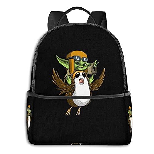 Star Wars Yoda Mochila escolar para hombres y mujeres, se adapta a la mochila ligera para ordenador portátil, mochila de viaje versátil