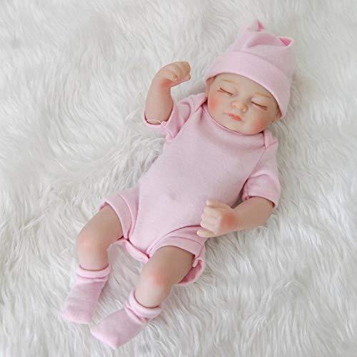 Aimila Mini muñeca bebé Reborn bebé muñeca de cuerpo completo de silicona 25,4 cm, muñeca bebé renacido durmiendo, el mejor regalo de acompañamiento para niños, regalo de cumpleaños
