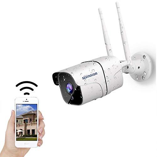 WLAN IP Kamera, 1080P HD Überwachungskamera IP66 wasserdichte WiFi Sicherheitskamera für Aussen, Nachtsicht,Zwei Wege Audio,APP Fernzugriff Bewegungserkennung, 16GB Micro SD Karten und Cloud