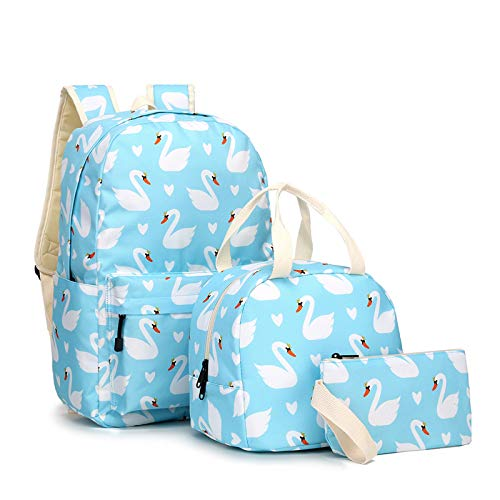 Little Swan School Bag, Large Capacity Middle Student Bookbag Lunch Bag Pencil Case Three-Piece Backpack