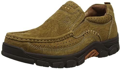 CAMEL CROWN Slipper Herren Mokassins Leder Weich Slip On Loafer mit Gummisohle Schuhe für Herren Schwarz Braun 41-47, Braun 4020, 45 EU