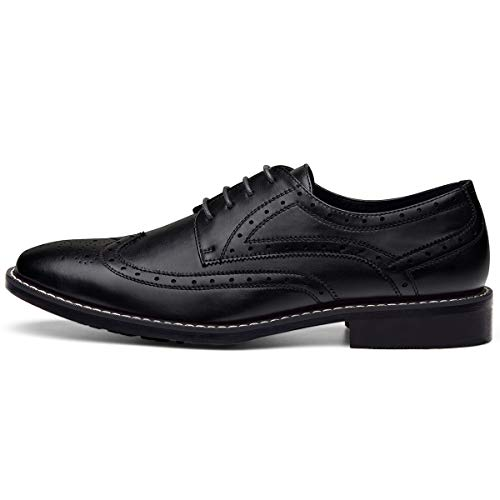 Men's Leather Oxford Dress Shoes Formal Wing-Tip Lace Up Derby Shoes Black 10