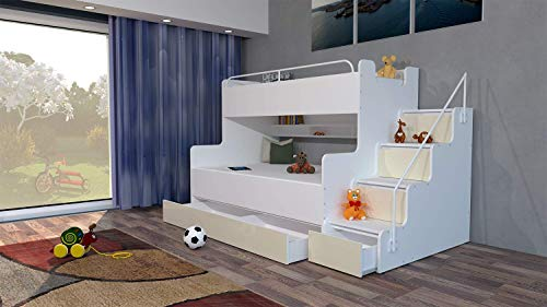 Just4U MODERN BEDROOM KIDS YOUTH DOUBLE TRIPLE BUNK BED STORAGE MATTRESSES BOY GIRL (Creamy)