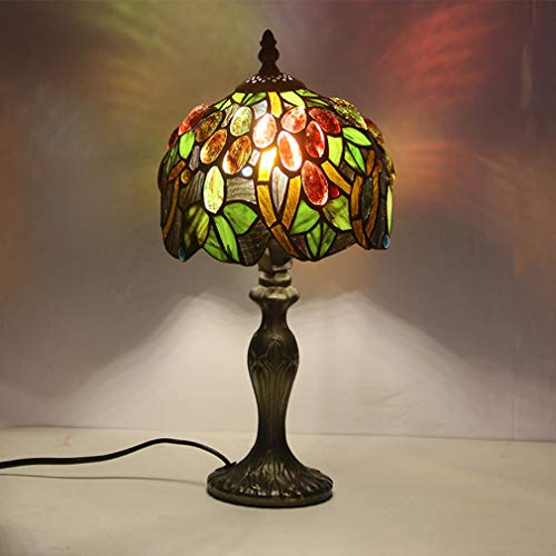 OMGPFR Tiffany Kreativität Schreibtischlampen, Tischlampe LED Retro Jahrgang Nachttischlichter, Traube Befleckt Glasschirm Antiquität Tischleuchten für Wohnzimmer Schlafzimmer Studie Beleuchtung,Grün