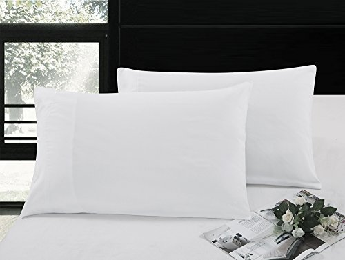 Pollymaid Linens Ultra-Soft 100-percent Double-Brushed Microfiber 2-Piece Pillow Case Set - Flap End (Standard Size Pillowcases, White)